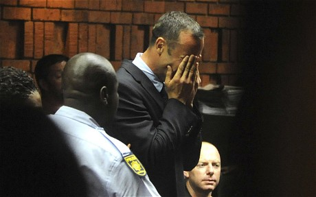 Oscar Pistorius breaks down in court as he hears that the prosecution will argue he committed premediated murder