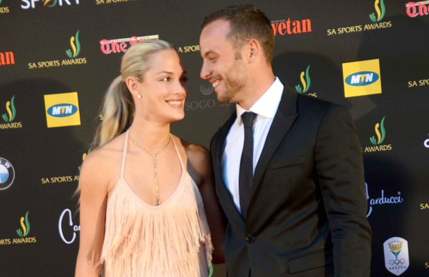 Oscar Pistorius with Reeva Steenkamp at awards ceremony