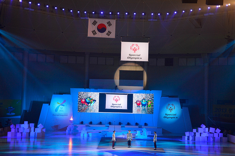 Pyeongchang 2013 closing ceremony flag lowering