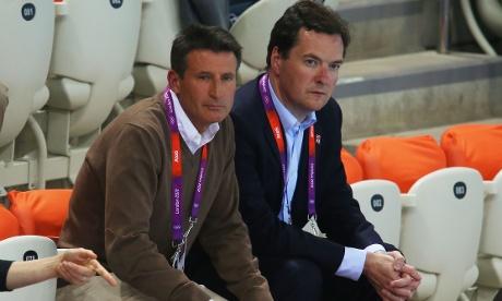 Sebastian Coe with George Osborne at London 2012