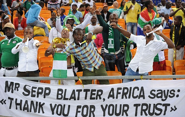 Sepp Blatter banner at African Nations Cup Johannesburg February 10 2013