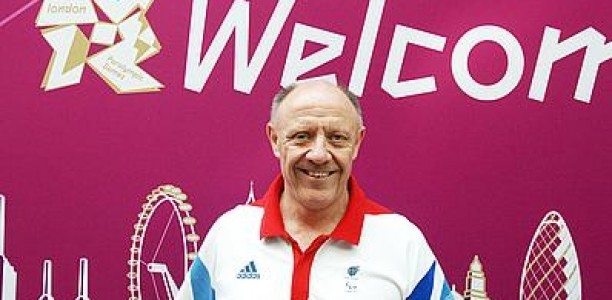 Tim Reddish in front of London 2012 sign