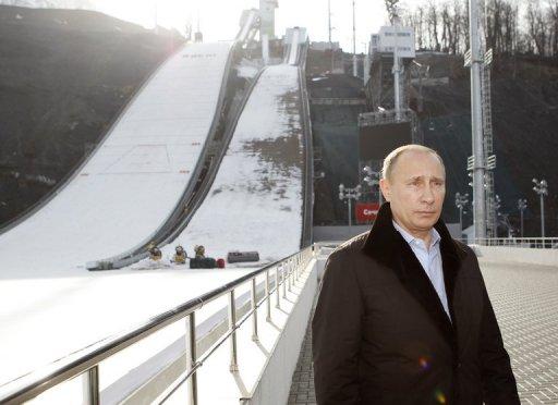 Vladimir Putin at Sochi 2014 ski jump facilitiy