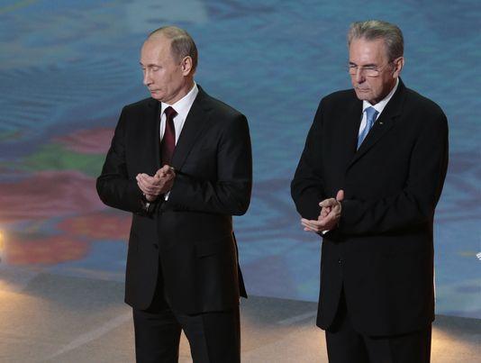 Vladimir Putin with Jacques Rogge