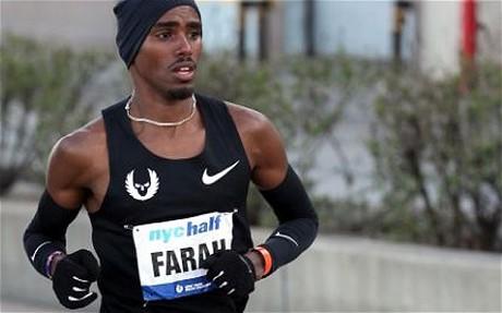 Mo Farah at NYC half marathon 2011