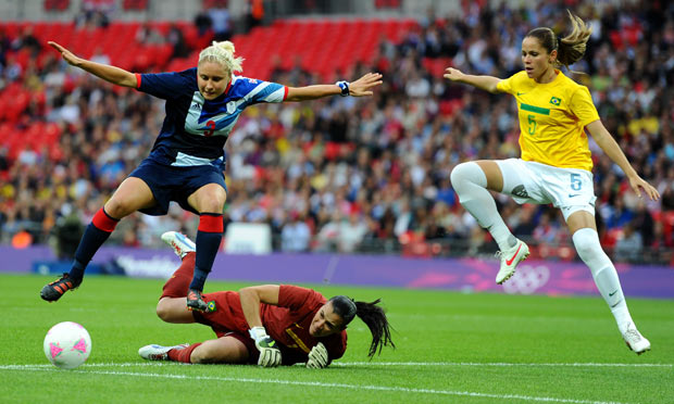Team GB in action v Brazil women football London 2012