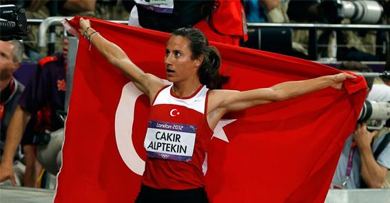 Asli Cakir Alptekin London 2012 with Turkish flag