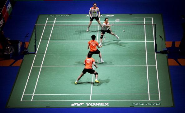 General view of the womens doubles final between Wang Xiaoli and Yu Yang of China and Cheng Shu and Zhao Yunlei of China  Birmingham March 10 2013