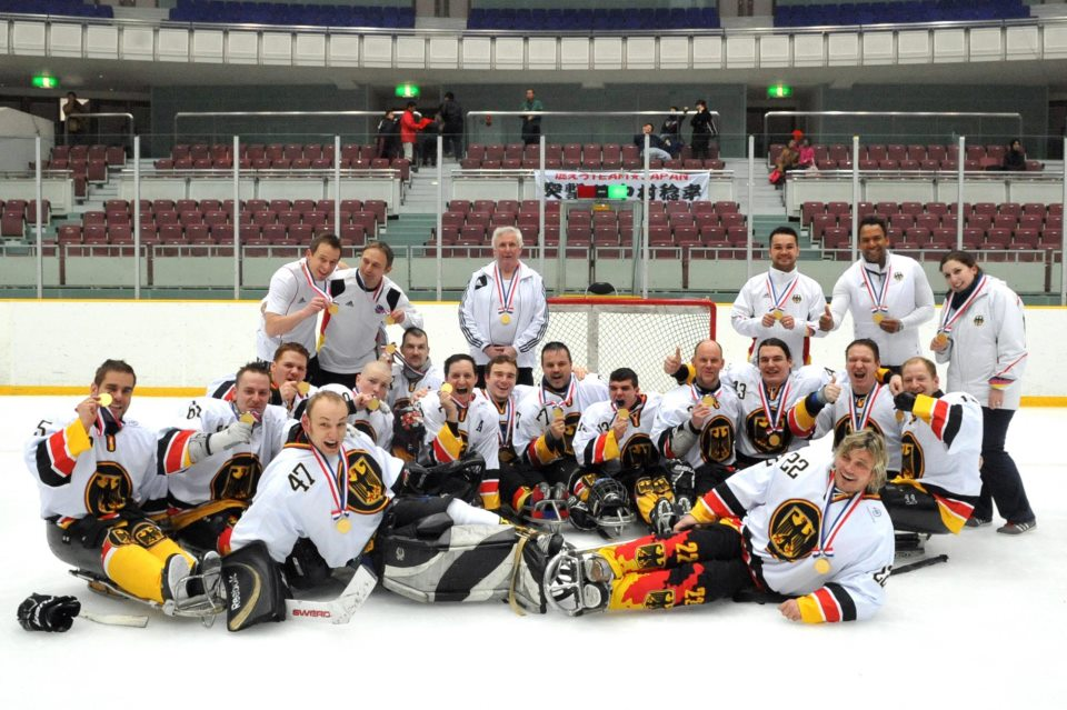 Germany celebrate 2013 Sledge Hockey world championship victory