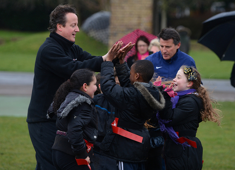 Sebastian Coe and David Cameron at launch of school sport scheme