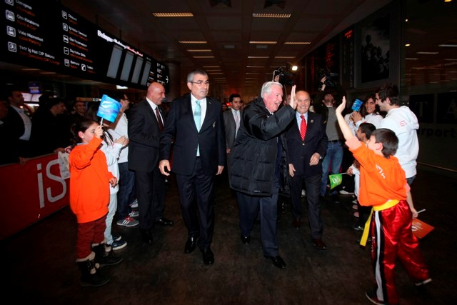 Sir Craig Reedie arrives Istanbul March 22 2013 2