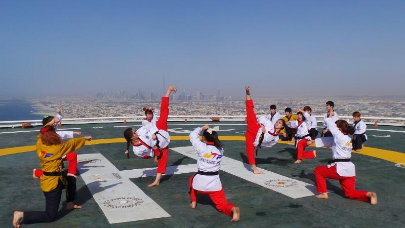 Taekwondo demonstration on helipad of Burj Al Arab 3800x450