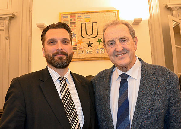 IFAF President Tommy Wiking with FISU President Claude-Louis Gallien Brussels March 9 2013