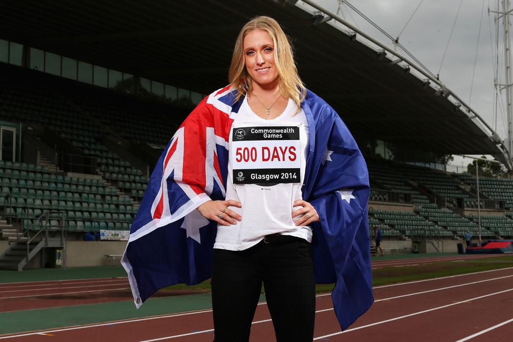 Sally Pearson with Australian flag 500 days to go until Glasgow 2014