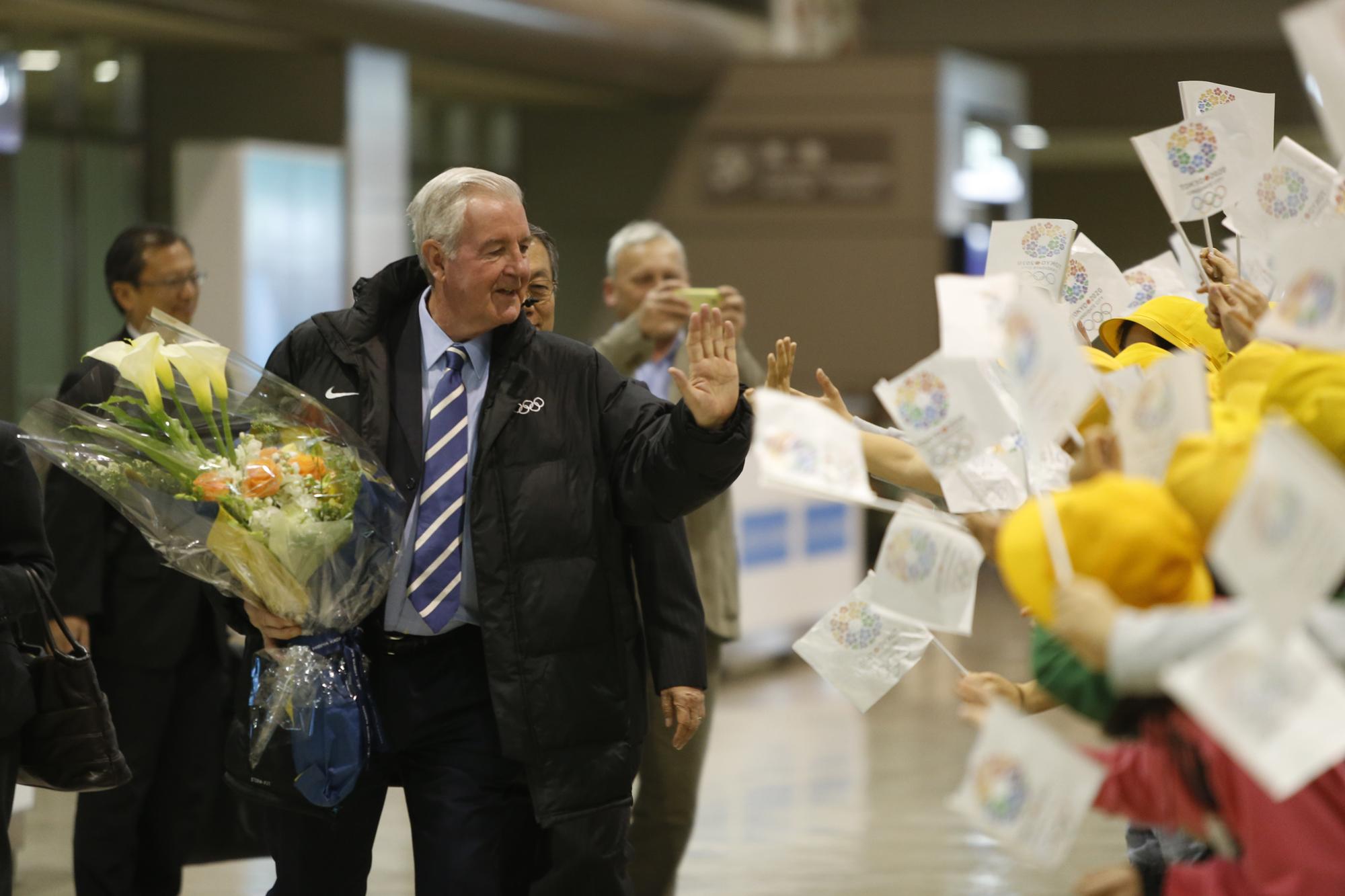 Sir Craig Reedie arrives at Narita Airport March 1 2013
