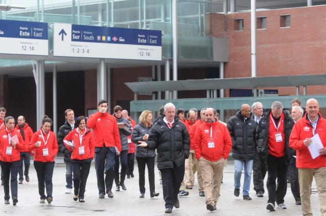 Sir Craig Reedie leading inspection team Madrid March 2013