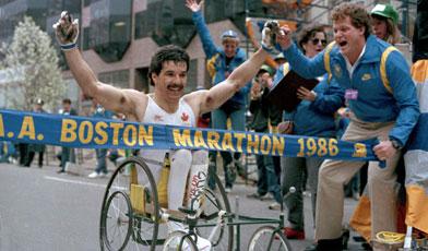 André Viger winning 1986 Boston Marathon