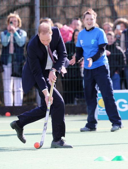 Duke of Cambridge playing hockey Glasgow April 4 2013
