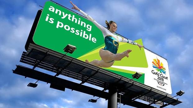 Gold Coast 2018 billboard with new logo