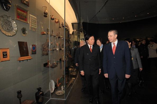Jacques Rogge and C K Wu at opening of Samaranch Memorial April 21 2013