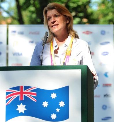 Kitty Chiller behind podium at London 2012