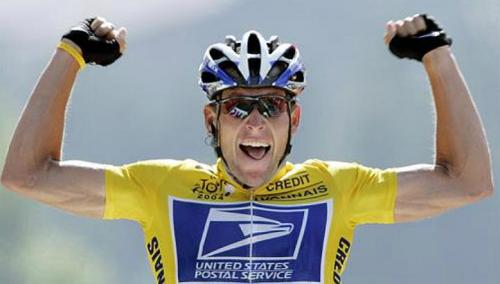 Lance Armstrong in yellow jersey with US Postal Services logo