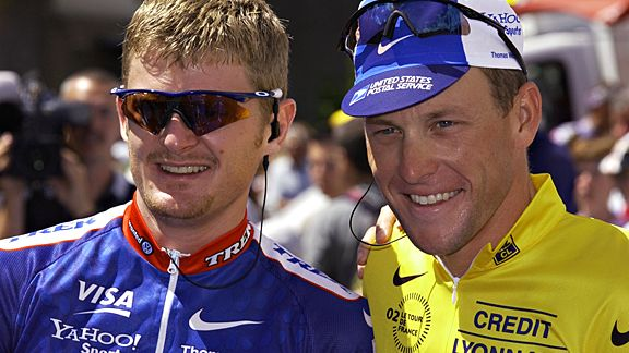 Lance Armstrong with Floyd Landis