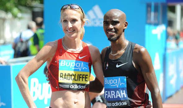 Mo Farah with Paula Radcliffe