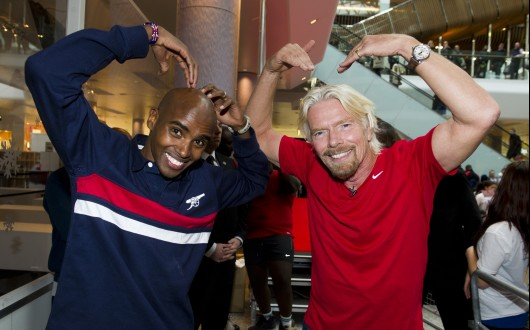 Mo Farah with Richard Branson doing the Mobot