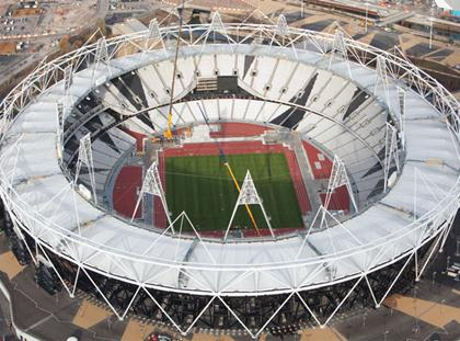 London 2012 Olympic Stadium from air