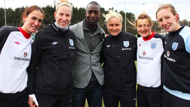 Michael Johnson with England womens football team