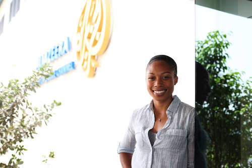 Allyson Felix visits Al Jazeera Doha May 2013