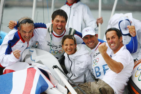 Andrew Simpson with British teammates Peter Bentley Bryony Shaw Iain Percy and Ben Ainslie