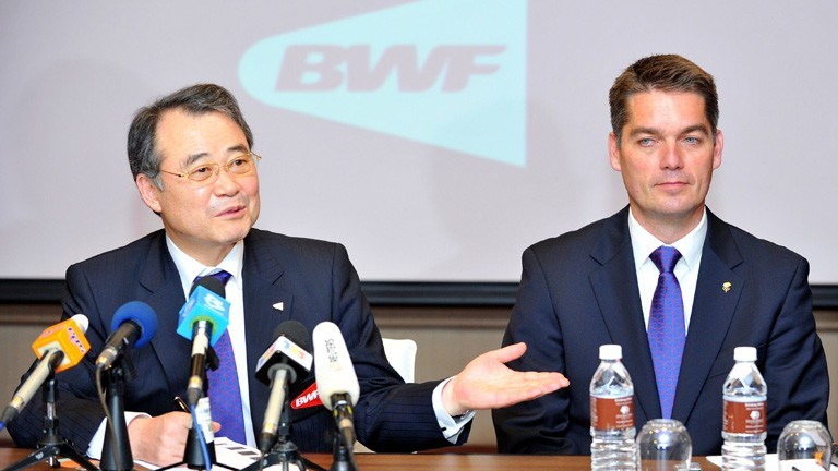 Former Badminton World Federation president Kang Young-Joong L introduces the groups newly elected president Denmarks Poul-Erik Hoyer