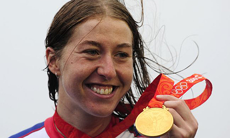 Nicole Cooke with Olympic gold medal
