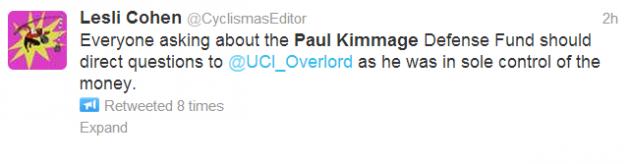 Paul Kimmage defence fund tweet
