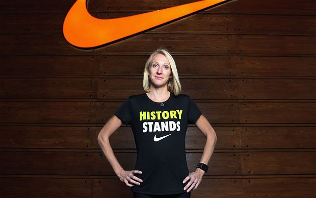 Paula Radcliffe in front of Nike banner