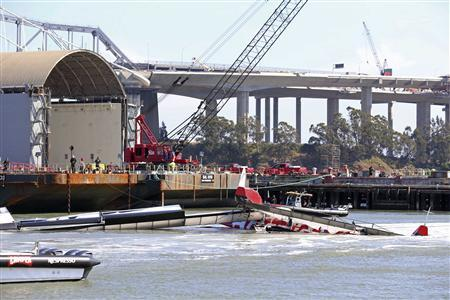 The Artemis Racing two-hulled boat capsized in San Francisco Bay