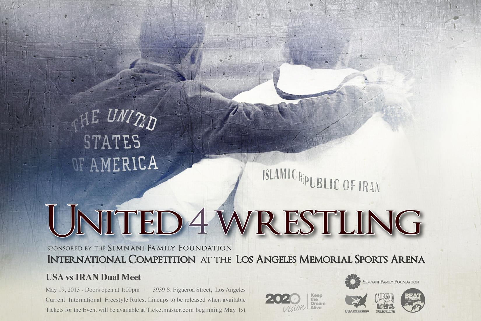 USA v Iran wrestling poster