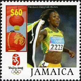 Veronica Campbell Brown on Beijing 2008 stamp