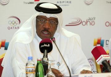 Dahlan al Hamad behind microphone