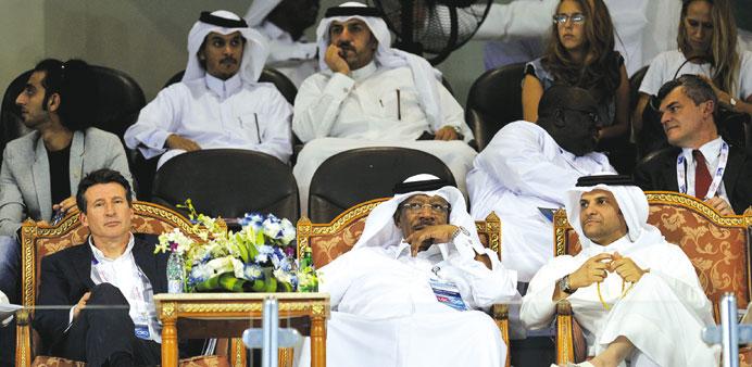 Dahlan al Hamad (centre) with Sebastian Coe (left) and Sheikh Saoud bin Abdulrahman al-Thani, secretary general of the Qatar Olympic Committee, at opening leg of the 2013 IAAF Diamond League in Doha