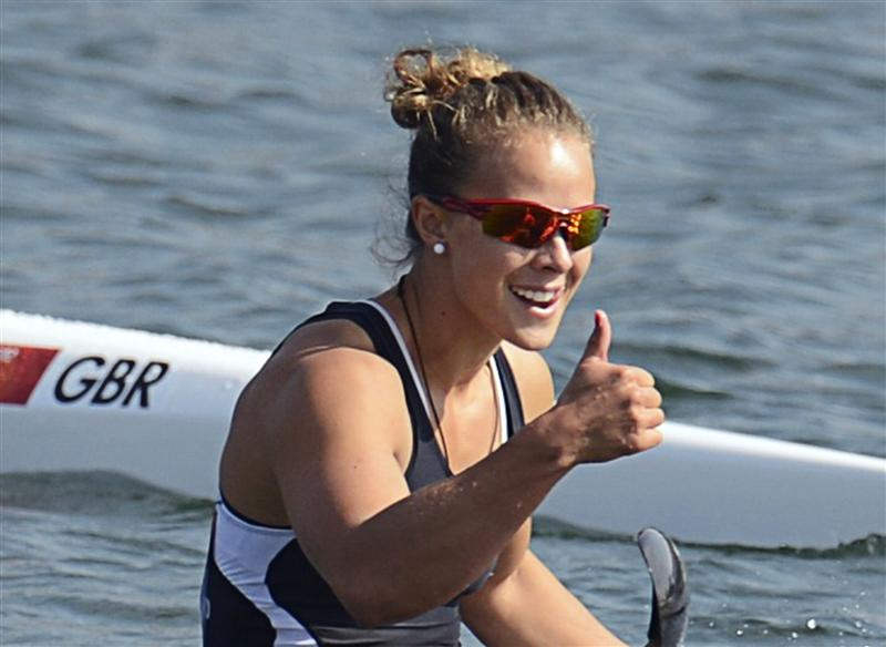 Lisa Carrington celebrates London 2012 gold medal