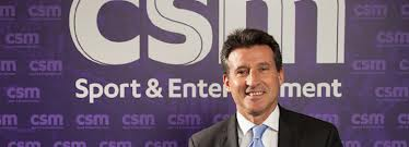 Sebastian Coe in front of CSM logo