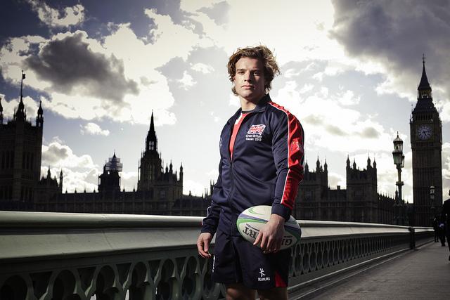 Tom Mitchell wearing Team GB Kazan 2013 kit