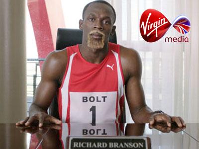 Usain Bolt pretending to be Richard Branson