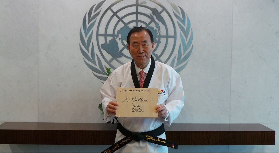 Ban Ki-moon receives 10th Dan black belt from WTF