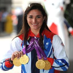 Dame Sarah Storey with London 2012 gold medals