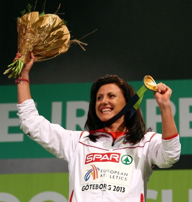 Gold medalist Tezdzhan Naimova of Bulgaria poses during the victory ceremony for the Womens 60m during day three of European Indoor Athletics