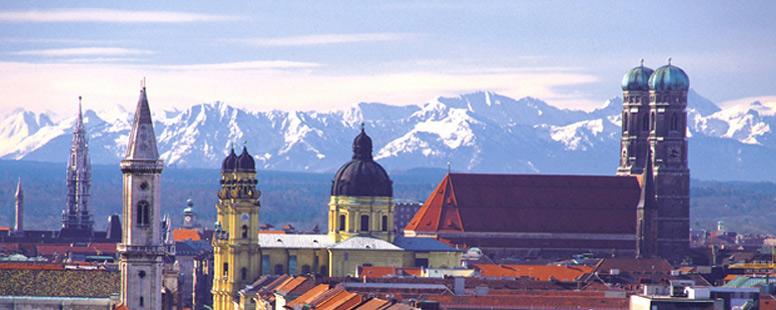 Munich city shot with mountains